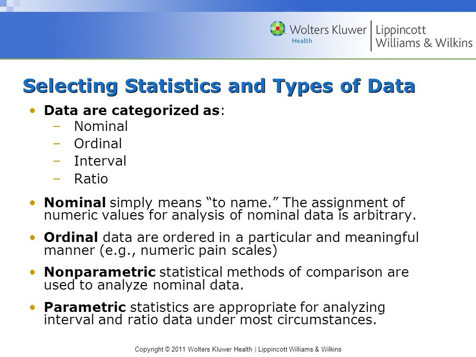 Copyright © 2011 Wolters Kluwer Health | Lippincott Williams & Wilkins Selecting Statistics and Types of Data Data are categorized as: –Nominal –Ordinal –Interval –Ratio Nominal simply means to name. The assignment of numeric values for analysis of nominal data is arbitrary.