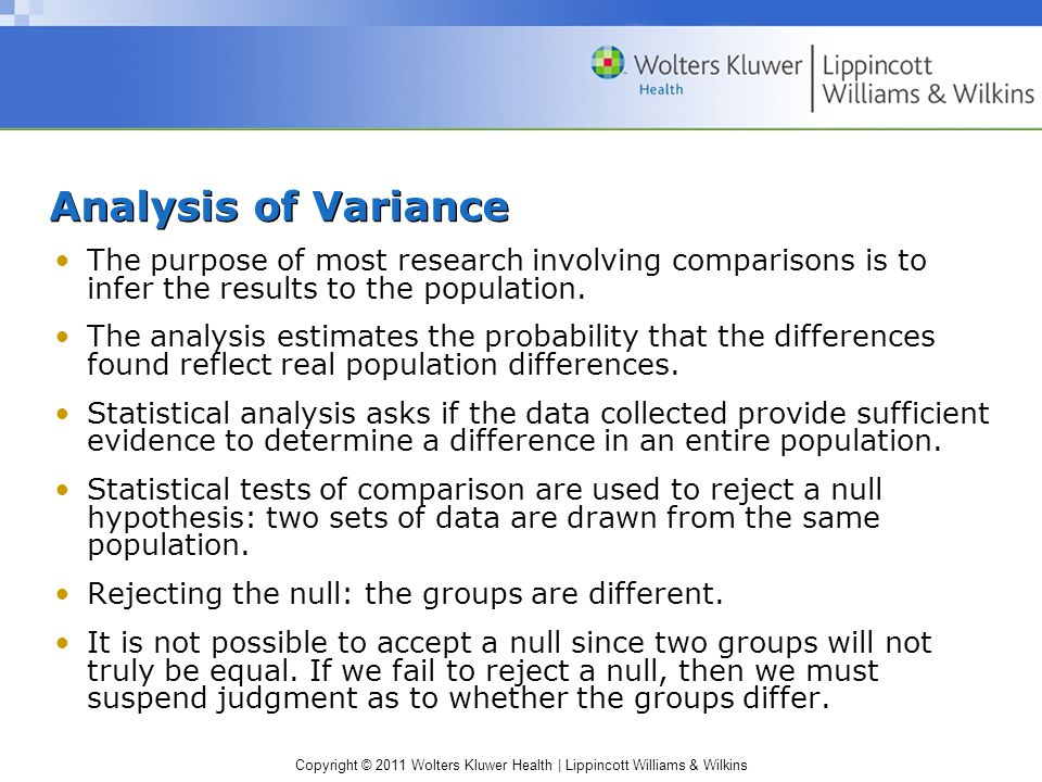 Copyright © 2011 Wolters Kluwer Health | Lippincott Williams & Wilkins Analysis of Variance The purpose of most research involving comparisons is to infer the results to the population.