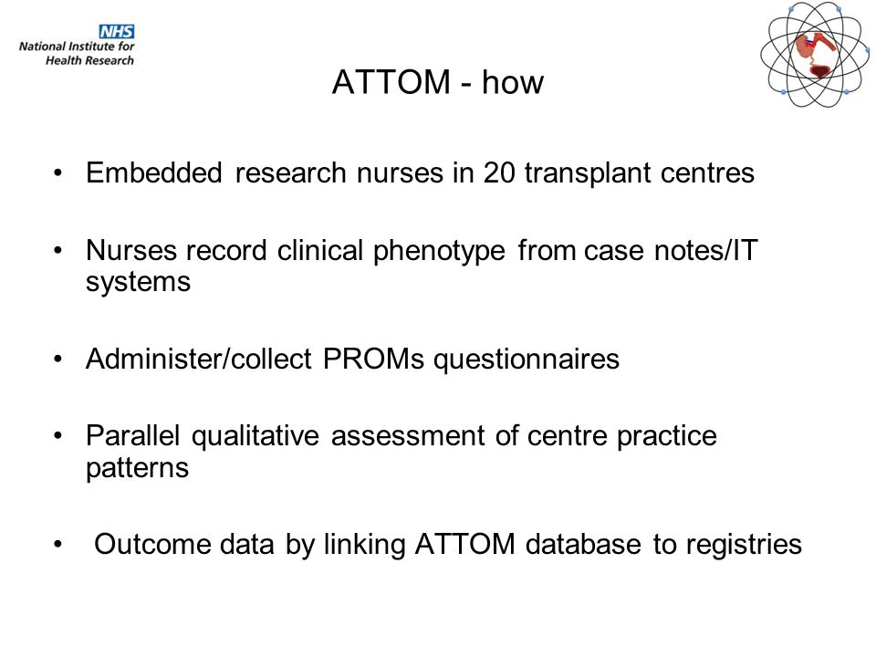 ATTOM - how Embedded research nurses in 20 transplant centres Nurses record clinical phenotype from case notes/IT systems Administer/collect PROMs que