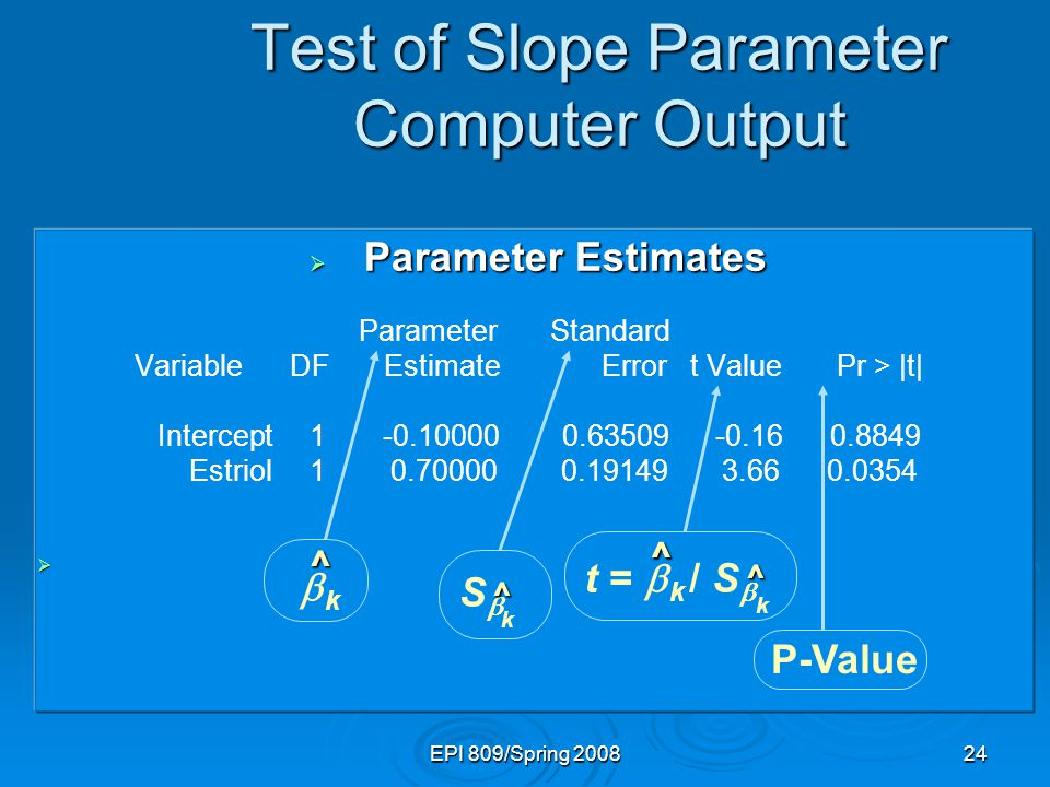 EPI 809/Spring 200824 Test of Slope Parameter Computer Output  Parameter Estimates Parameter Standard Variable DF Estimate Error t Value Pr > |t| Intercept 1 -0.10000 0.63509 -0.16 0.8849 Estriol 1 0.70000 0.19149 3.66 0.0354  t =  k / S  P-Value SS kk k k ^ ^ ^ ^