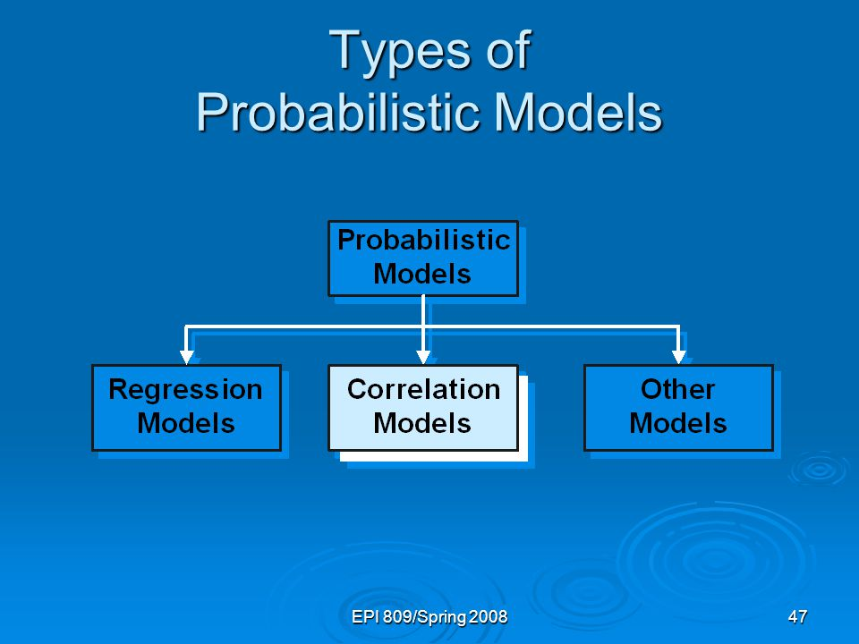 EPI 809/Spring 200847 Types of Probabilistic Models