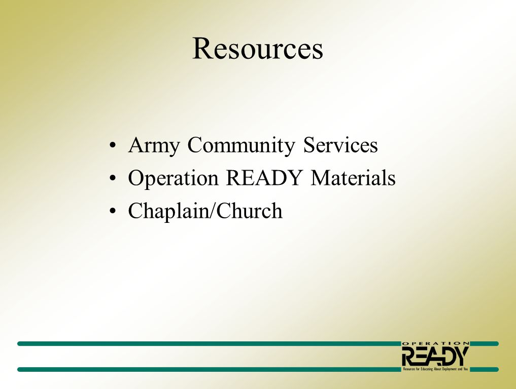 Resources Army Community Services Operation READY Materials Chaplain/Church
