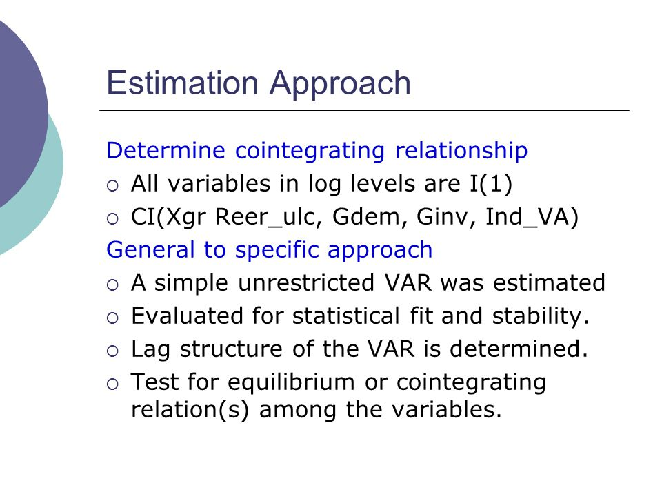 Estimation Approach Determine cointegrating relationship  All variables in log levels are I(1)  CI(Xgr Reer_ulc, Gdem, Ginv, Ind_VA) General to specific approach  A simple unrestricted VAR was estimated  Evaluated for statistical fit and stability.