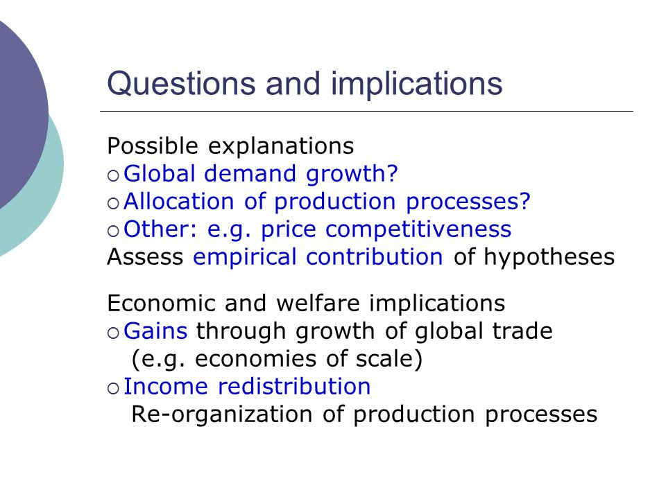 Questions and implications Possible explanations  Global demand growth?  Allocation of production processes?  Other: e.g. price competitiveness Ass