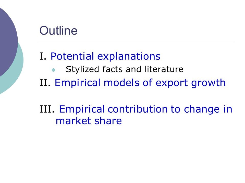 Outline I. Potential explanations Stylized facts and literature II. Empirical models of export growth III. Empirical contribution to change in market