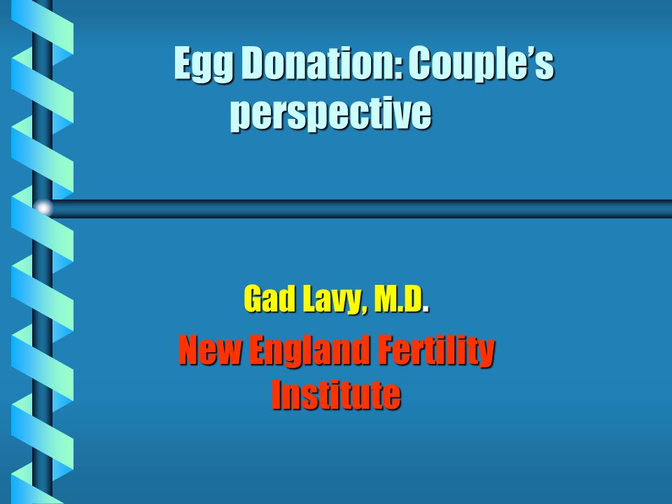 Egg Donation: Couple's perspective Gad Lavy, M.D. New England Fertility Institute