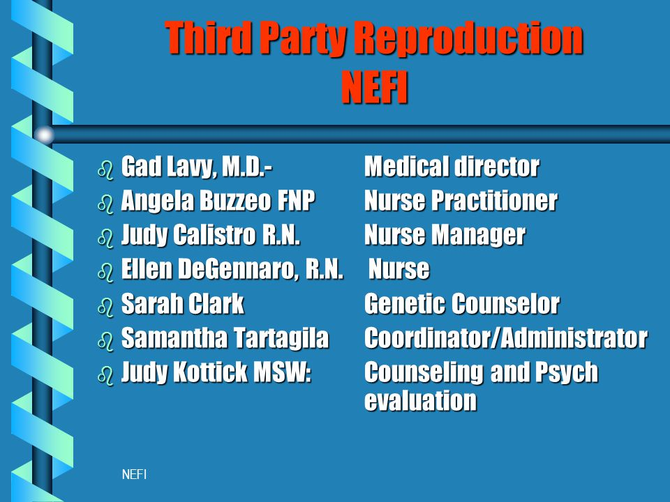 NEFI Third Party Reproduction NEFI b Gad Lavy, M.D.- Medical director b Angela Buzzeo FNPNurse Practitioner b Judy Calistro R.N.Nurse Manager b Ellen DeGennaro, R.N.