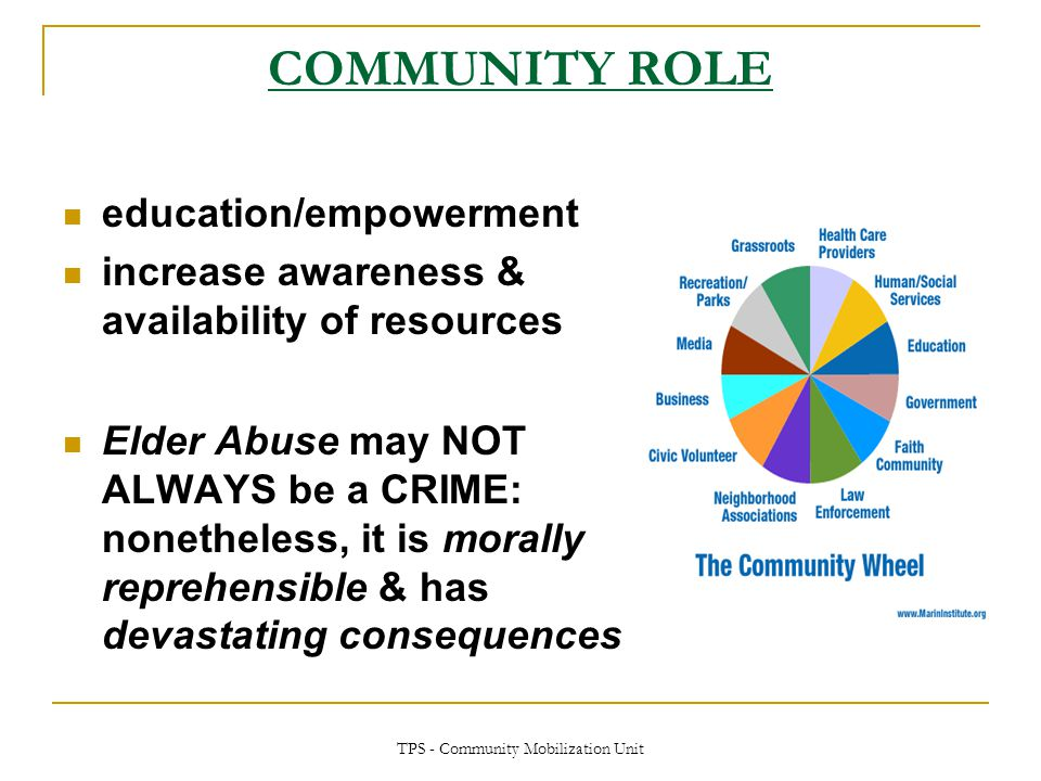 TPS - Community Mobilization Unit COMMUNITY ROLE education/empowerment increase awareness & availability of resources Elder Abuse may NOT ALWAYS be a