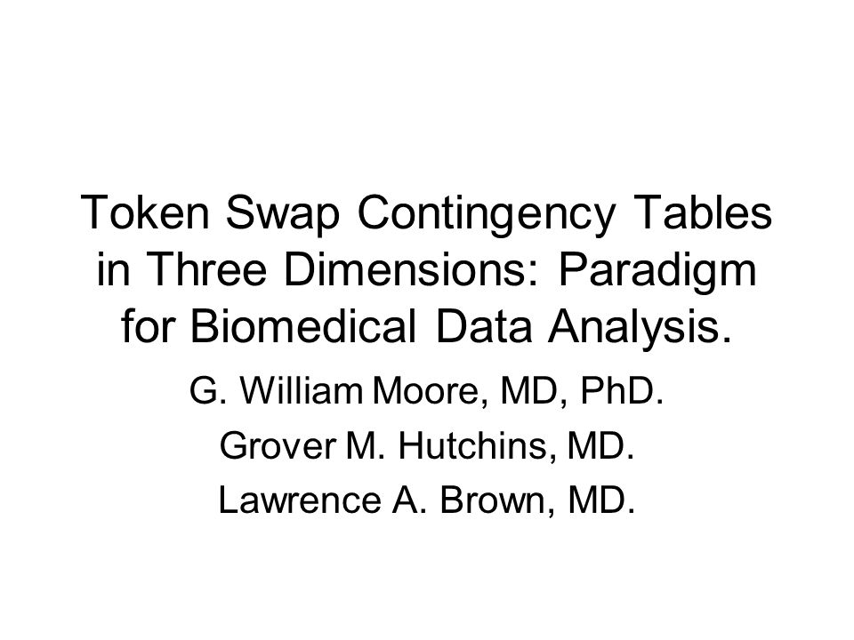 Token Swap Contingency Tables in Three Dimensions: Paradigm for Biomedical Data Analysis.