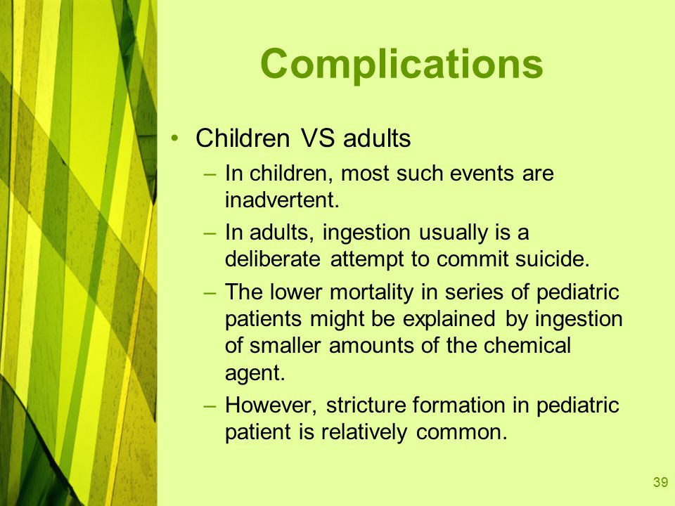 39 Complications Children VS adults –In children, most such events are inadvertent.