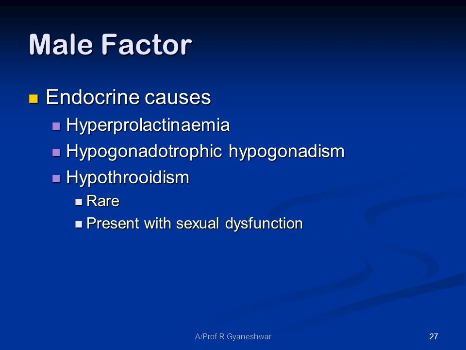 27A/Prof R Gyaneshwar Male Factor Endocrine causes Endocrine causes Hyperprolactinaemia Hyperprolactinaemia Hypogonadotrophic hypogonadism Hypogonadotrophic hypogonadism Hypothrooidism Hypothrooidism Rare Rare Present with sexual dysfunction Present with sexual dysfunction