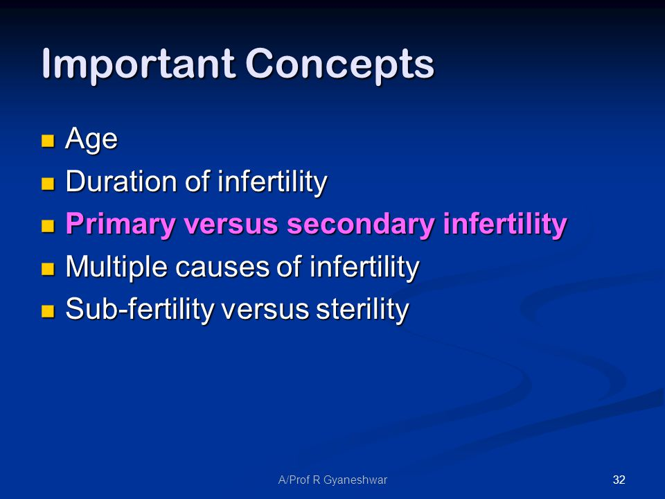 32A/Prof R Gyaneshwar Important Concepts Age Age Duration of infertility Duration of infertility Primary versus secondary infertility Primary versus secondary infertility Multiple causes of infertility Multiple causes of infertility Sub-fertility versus sterility Sub-fertility versus sterility