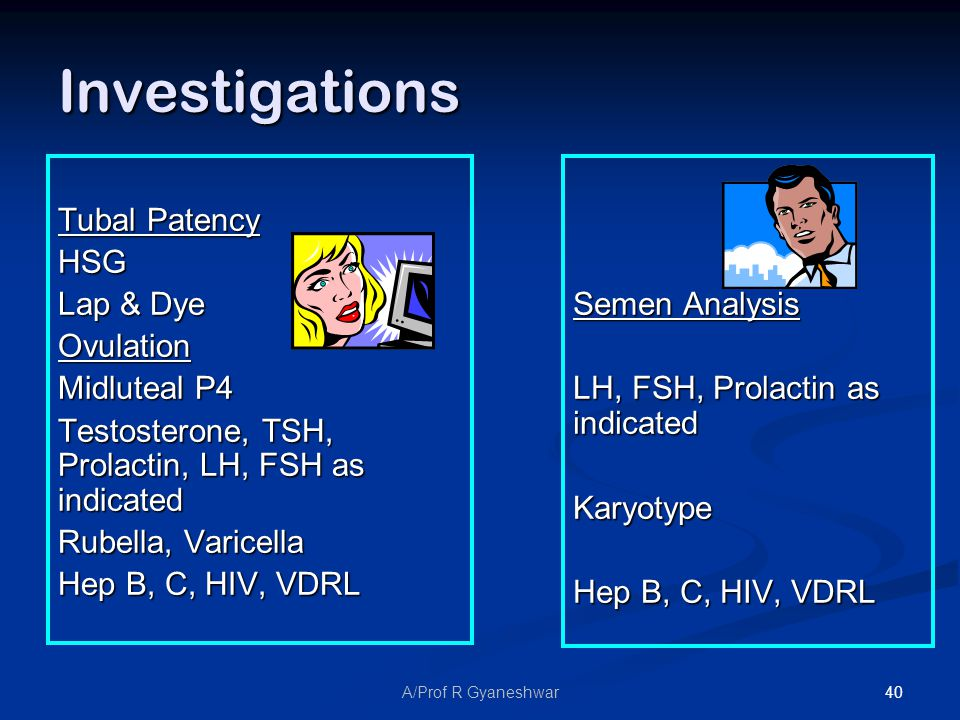 40A/Prof R Gyaneshwar Investigations Tubal Patency HSG Lap & Dye Ovulation Midluteal P4 Testosterone, TSH, Prolactin, LH, FSH as indicated Rubella, Varicella Hep B, C, HIV, VDRL Semen Analysis LH, FSH, Prolactin as indicated Karyotype Hep B, C, HIV, VDRL