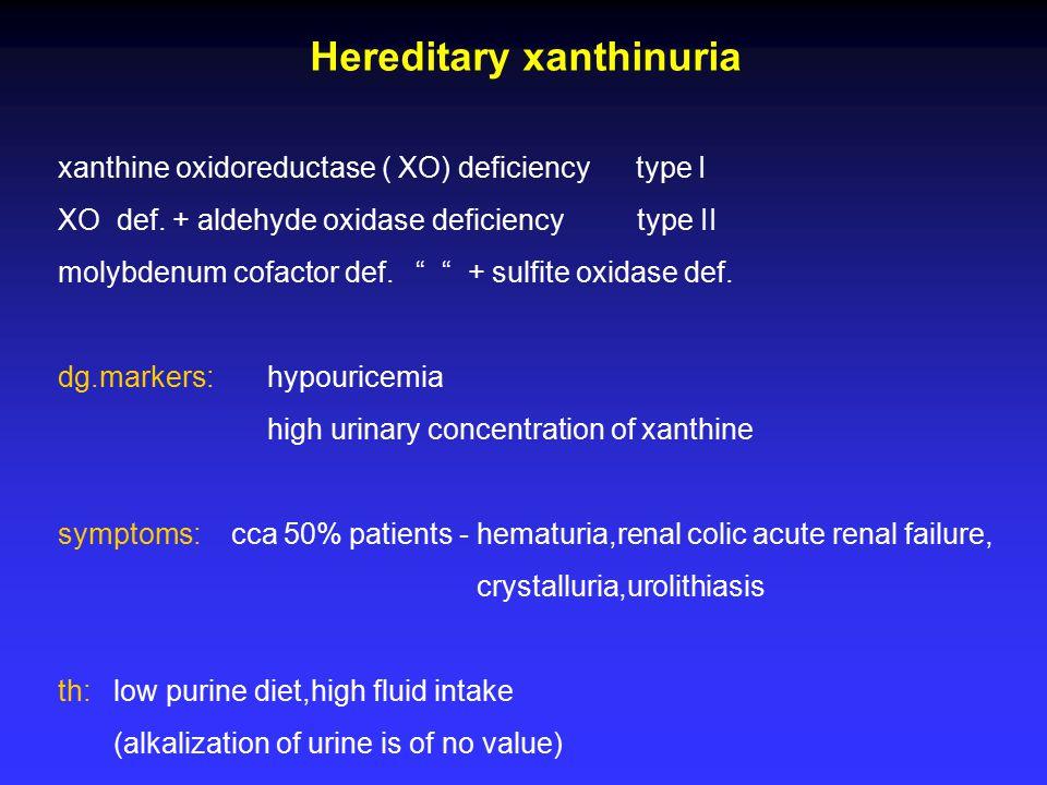"""Hereditary xanthinuria xanthine oxidoreductase ( XO) deficiency type I XO def. + aldehyde oxidase deficiency type II molybdenum cofactor def. """" """" + su"""
