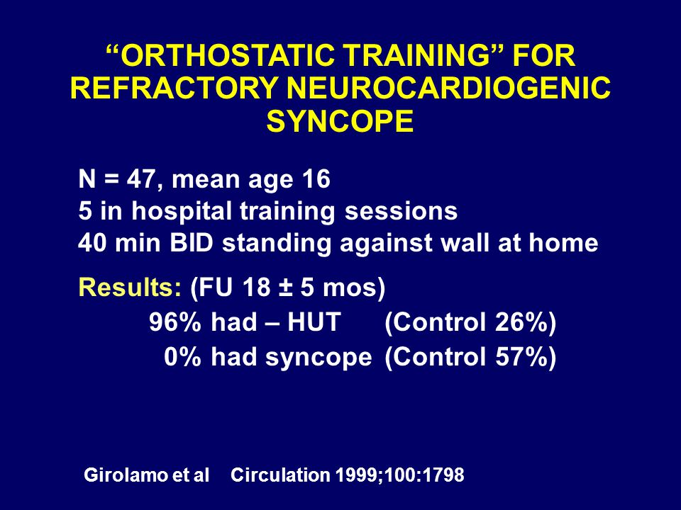 """ORTHOSTATIC TRAINING"" FOR REFRACTORY NEUROCARDIOGENIC SYNCOPE N = 47, mean age 16 5 in hospital training sessions 40 min BID standing against wall at"