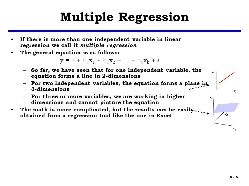 8 - 5 Multiple Regression If there is more than one independent variable in linear regression we call it multiple regression The general equation is as follows: y = a + b 1 x 1 + b 2 x 2 + … + b k x k +  – So far, we have seen that for one independent variable, the equation forms a line in 2-dimensions – For two independent variables, the equation forms a plane in 3-dimensions – For three or more variables, we are working in higher dimensions and cannot picture the equation The math is more complicated, but the results can be easily obtained from a regression tool like the one in Excel X1X1 X2X2 Y