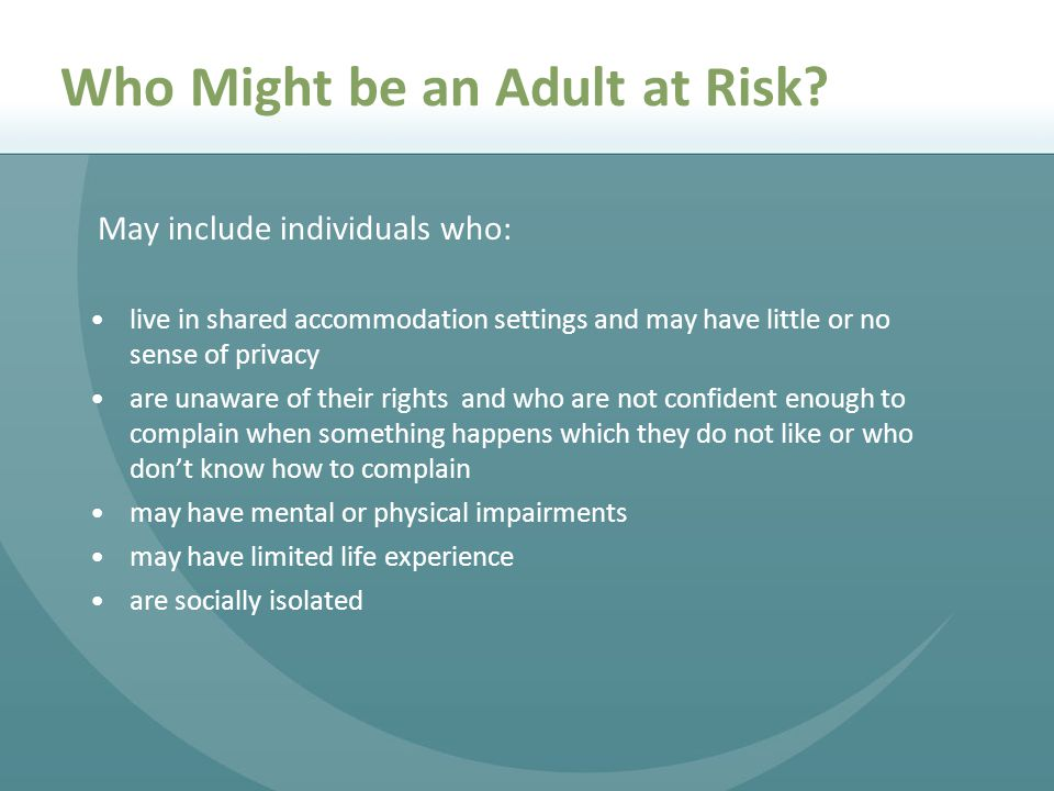 Who Might be an Adult at Risk.