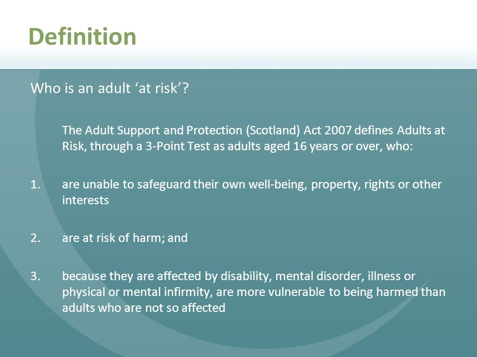 Definition Who is an adult 'at risk'.