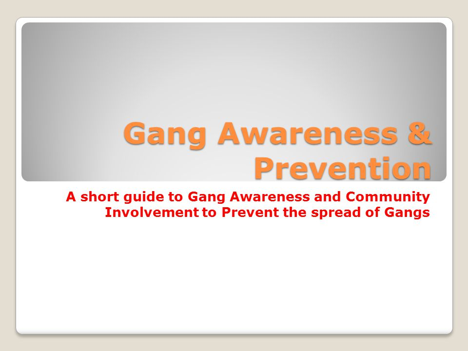Gang Awareness & Prevention A short guide to Gang Awareness and Community Involvement to Prevent the spread of Gangs