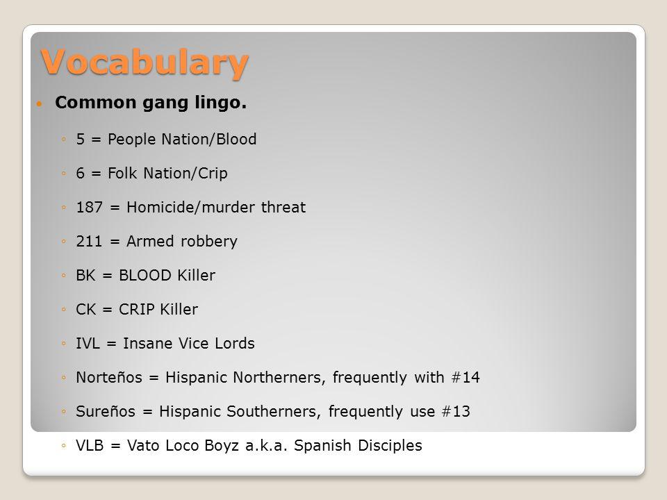 Vocabulary Common gang lingo.