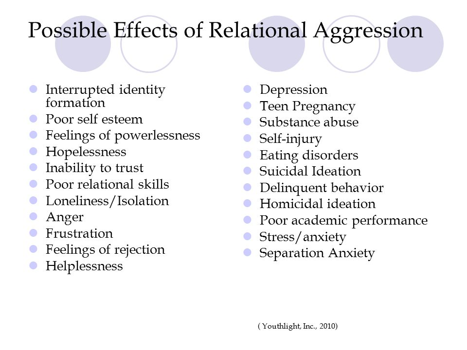 Possible Effects of Relational Aggression Interrupted identity formation Poor self esteem Feelings of powerlessness Hopelessness Inability to trust Po