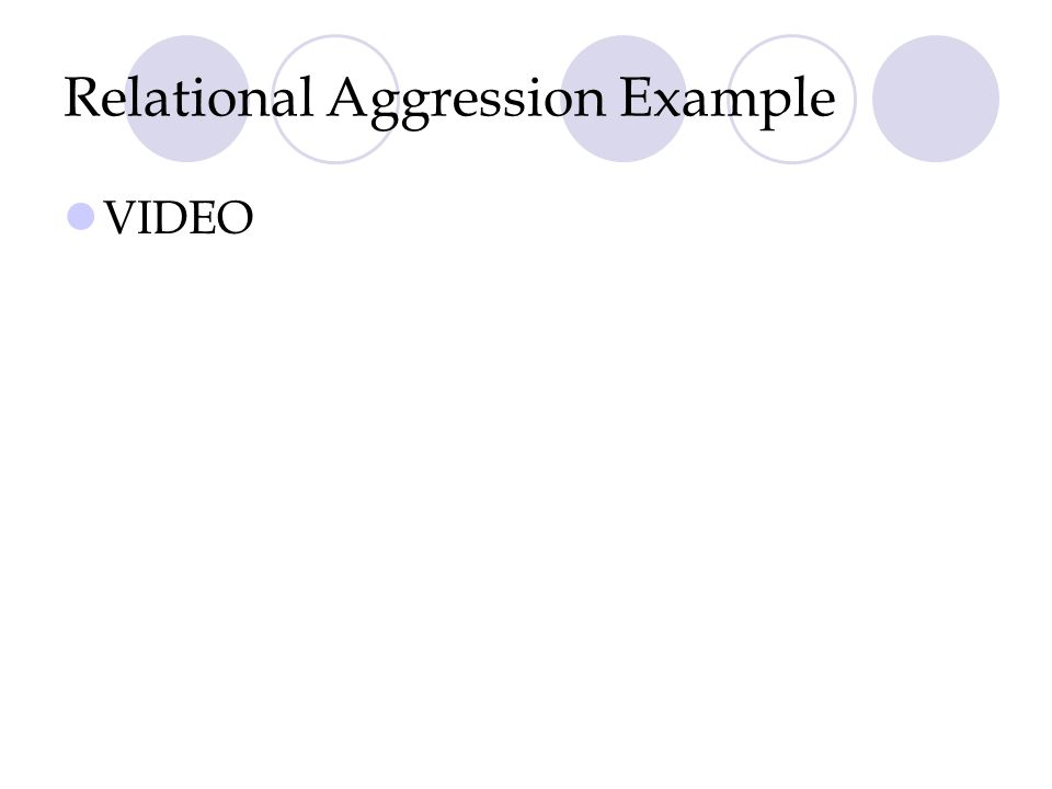 Relational Aggression Example VIDEO