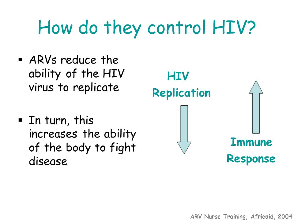 ARV Nurse Training, Africaid, 2004 How do they control HIV?  ARVs reduce the ability of the HIV virus to replicate  In turn, this increases the abil