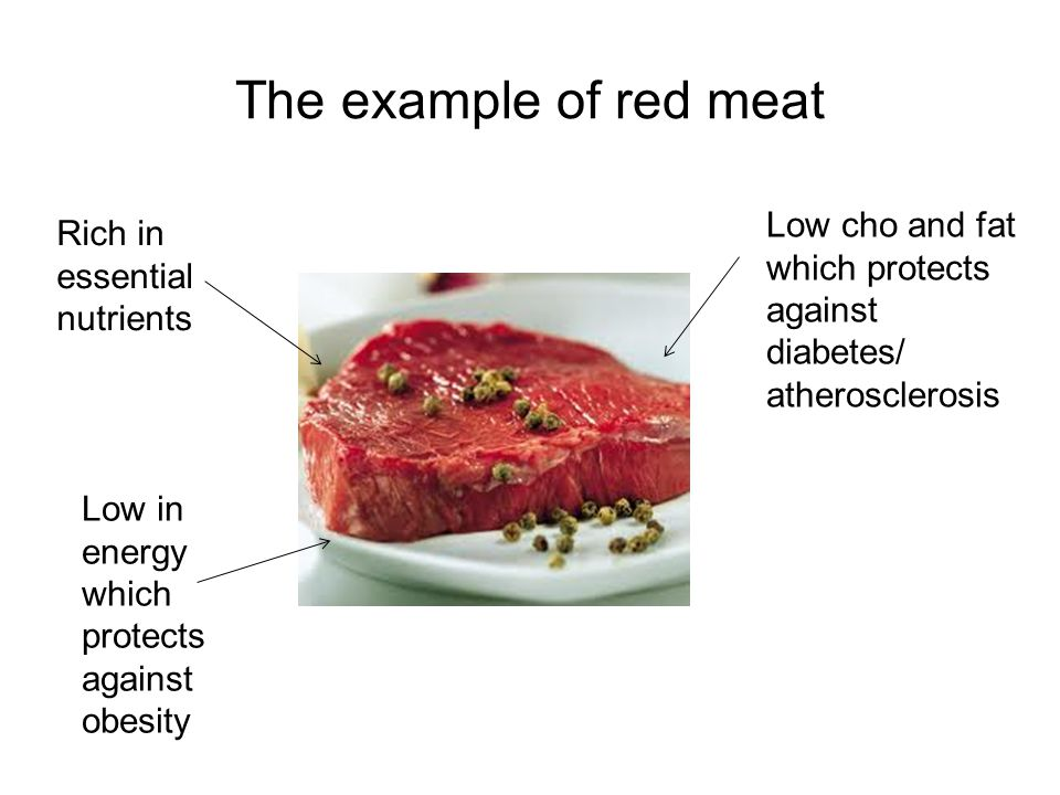 The example of red meat Rich in essential nutrients Low in energy which protects against obesity Low cho and fat which protects against diabetes/ atherosclerosis