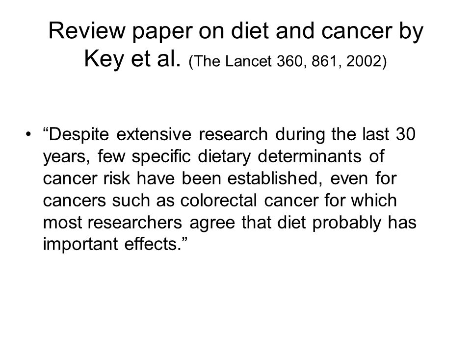 Review paper on diet and cancer by Key et al.