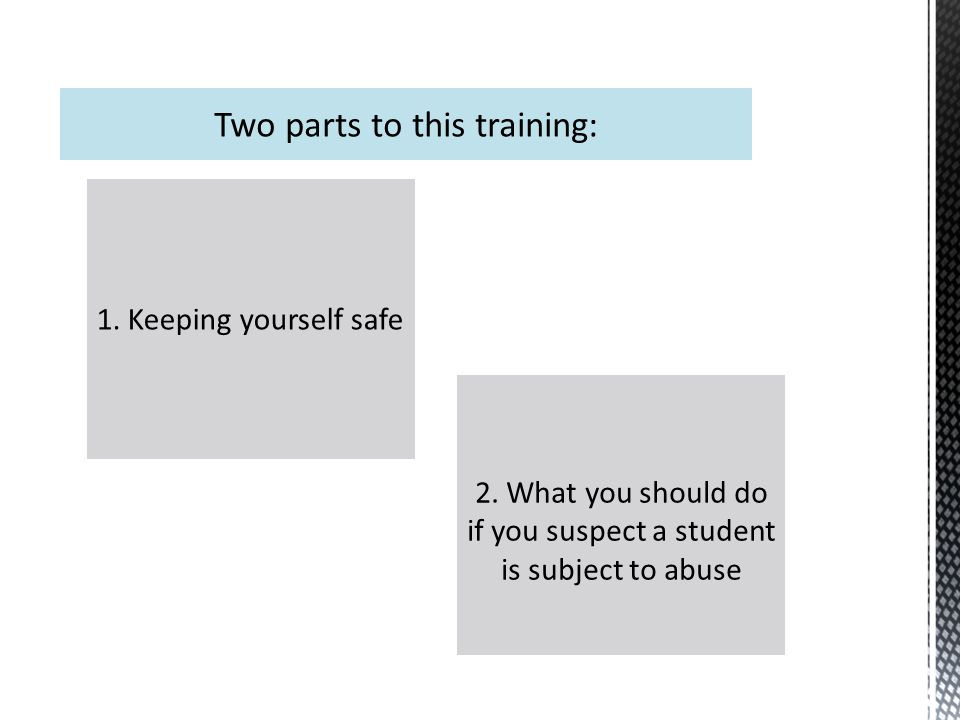 1. Keeping yourself safe 2. What you should do if you suspect a student is subject to abuse