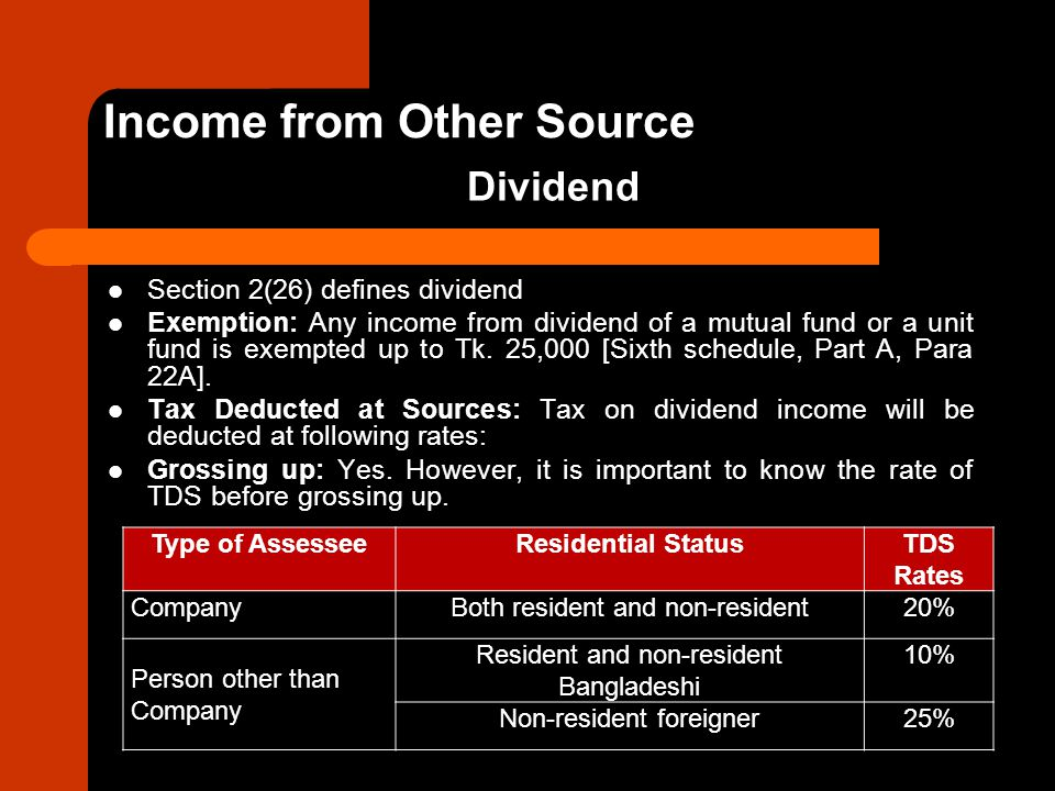 Section 2(26) defines dividend Exemption: Any income from dividend of a mutual fund or a unit fund is exempted up to Tk. 25,000 [Sixth schedule, Part