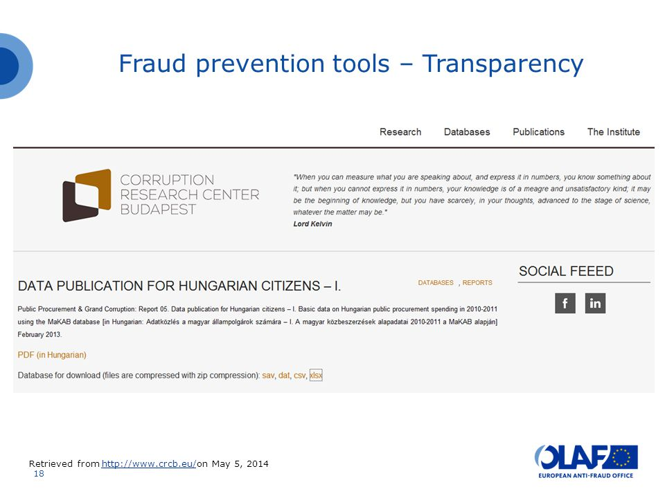 18 Fraud prevention tools – Transparency Retrieved from http://www.crcb.eu/on May 5, 2014http://www.crcb.eu/