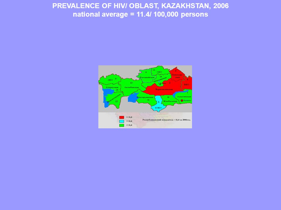 PREVALENCE OF HIV/ OBLAST, KAZAKHSTAN, 2006 national average = 11.4/ 100,000 persons