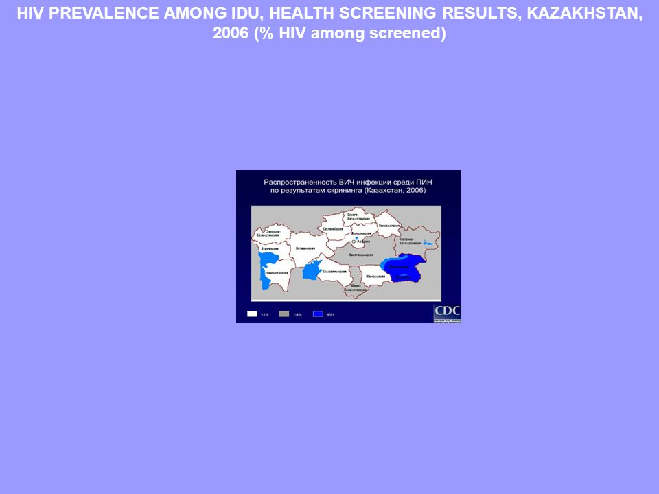 HIV PREVALENCE AMONG IDU, HEALTH SCREENING RESULTS, KAZAKHSTAN, 2006 (% HIV among screened)
