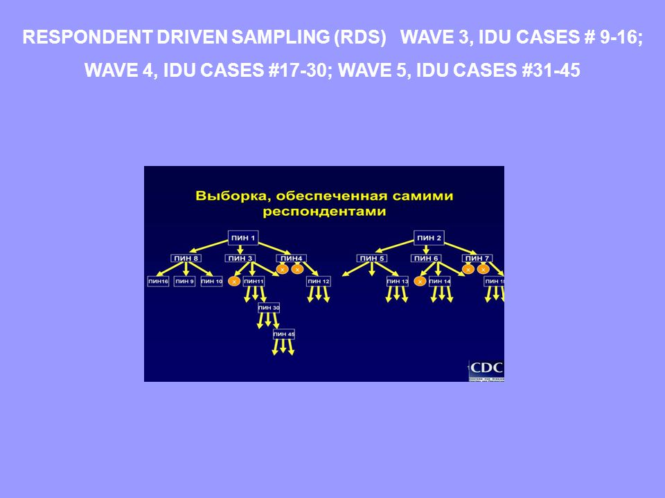 RESPONDENT DRIVEN SAMPLING (RDS) WAVE 3, IDU CASES # 9-16; WAVE 4, IDU CASES #17-30; WAVE 5, IDU CASES #31-45