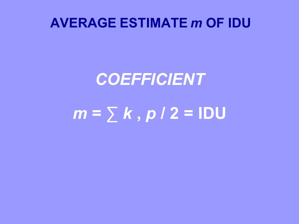 AVERAGE ESTIMATE m OF IDU COEFFICIENT m = ∑ k, p / 2 = IDU COEFFICIENT m = ∑ k, p / 2 = IDU