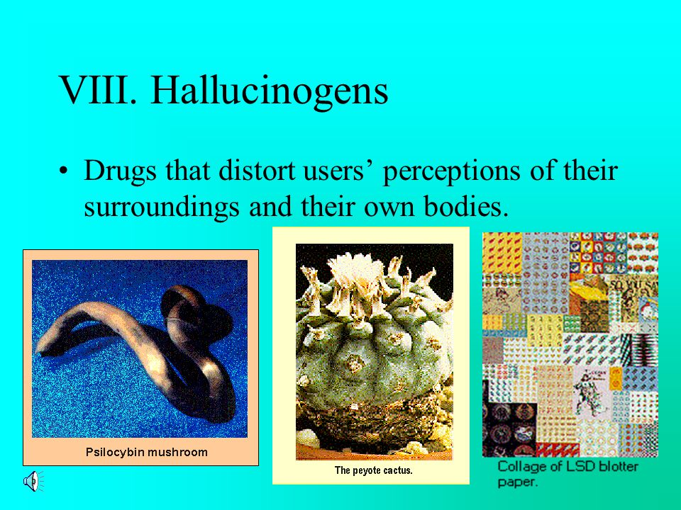 VIII. Hallucinogens Drugs that distort users' perceptions of their surroundings and their own bodies.