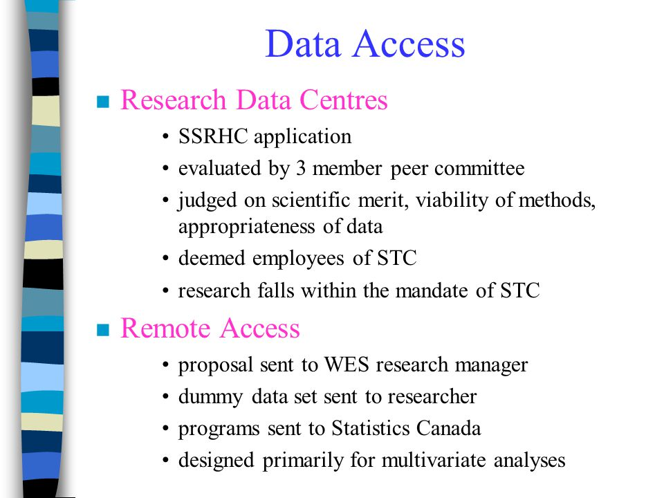 Data Access n Research Data Centres SSRHC application evaluated by 3 member peer committee judged on scientific merit, viability of methods, appropria