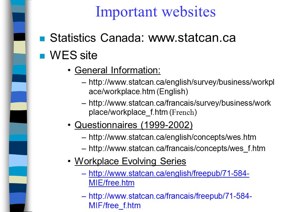 Important websites n Statistics Canada : www.statcan.ca n WES site General Information: –http://www.statcan.ca/english/survey/business/workpl ace/work