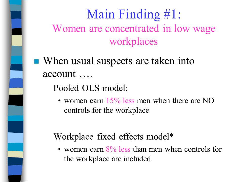 Main Finding #1: Women are concentrated in low wage workplaces n When usual suspects are taken into account …. Pooled OLS model: women earn 15% less m