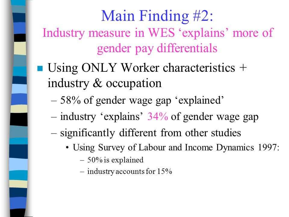 Main Finding #2: Industry measure in WES 'explains' more of gender pay differentials n Using ONLY Worker characteristics + industry & occupation –58%
