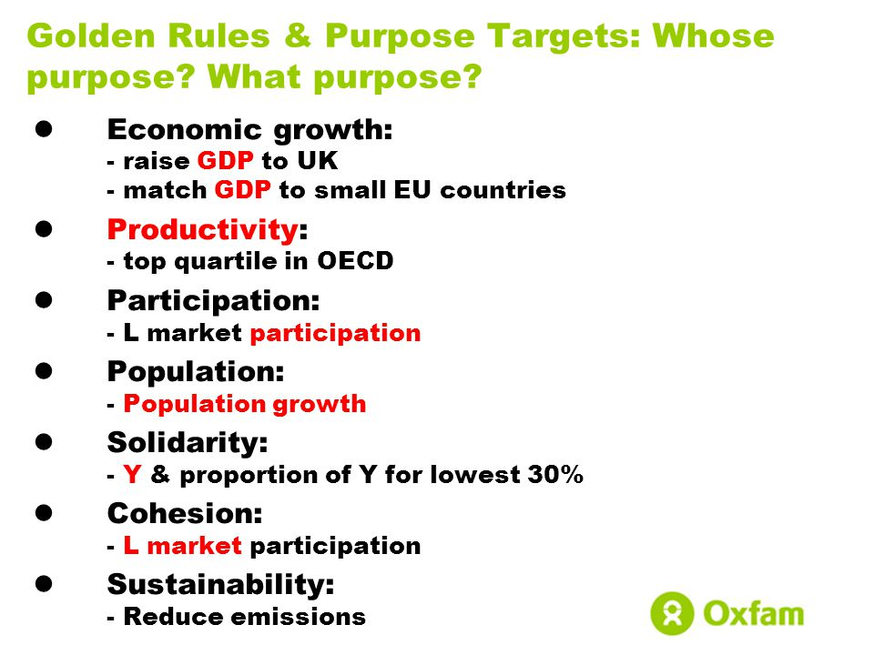 Golden Rules & Purpose Targets: Whose purpose? What purpose? Economic growth: - raise GDP to UK - match GDP to small EU countries Productivity: - top