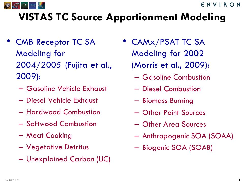 CMAS 2009 6 VISTAS TC Source Apportionment Modeling CMB Receptor TC SA Modeling for 2004/2005 (Fujita et al., 2009): –Gasoline Vehicle Exhaust –Diesel Vehicle Exhaust –Hardwood Combustion –Softwood Combustion –Meat Cooking –Vegetative Detritus –Unexplained Carbon (UC) CAMx/PSAT TC SA Modeling for 2002 (Morris et al., 2009): –Gasoline Combustion –Diesel Combustion –Biomass Burning –Other Point Sources –Other Area Sources –Anthropogenic SOA (SOAA) –Biogenic SOA (SOAB)