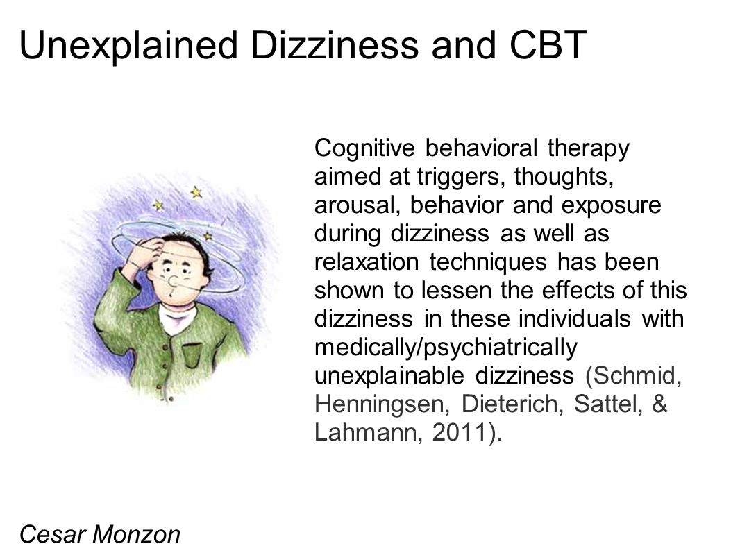 Unexplained Dizziness and CBT Cognitive behavioral therapy aimed at triggers, thoughts, arousal, behavior and exposure during dizziness as well as rel