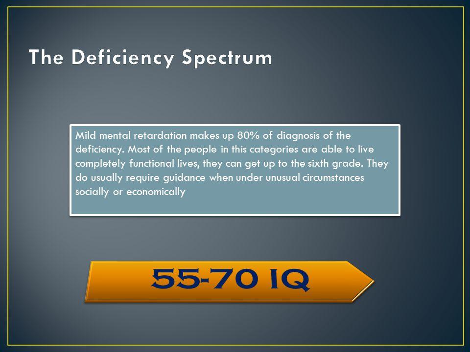 Mild mental retardation makes up 80% of diagnosis of the deficiency.