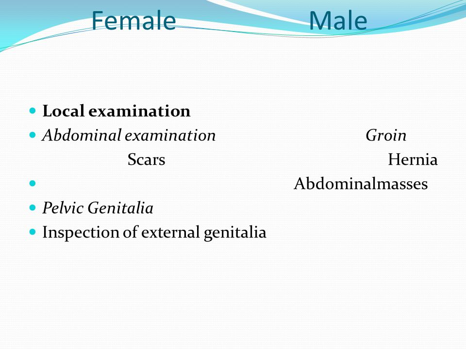 Examination of the infertile couple Female Male Generalexamination weight,BMI Height, weight, body mass index (BMI) Blood pressure Blood pressure Fat