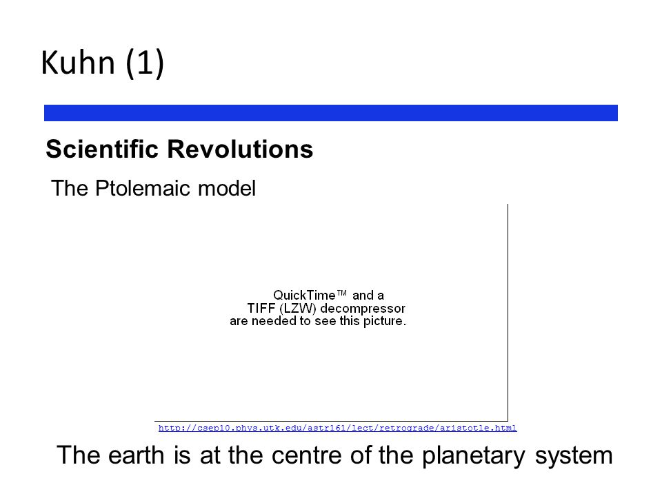 Kuhn (1) Scientific Revolutions The Ptolemaic model The earth is at the centre of the planetary system http://csep10.phys.utk.edu/astr161/lect/retrogr