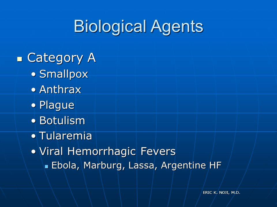 ERIC K. NOJI, M.D. Biological Agents Category A Category A SmallpoxSmallpox AnthraxAnthrax PlaguePlague BotulismBotulism TularemiaTularemia Viral Hemo