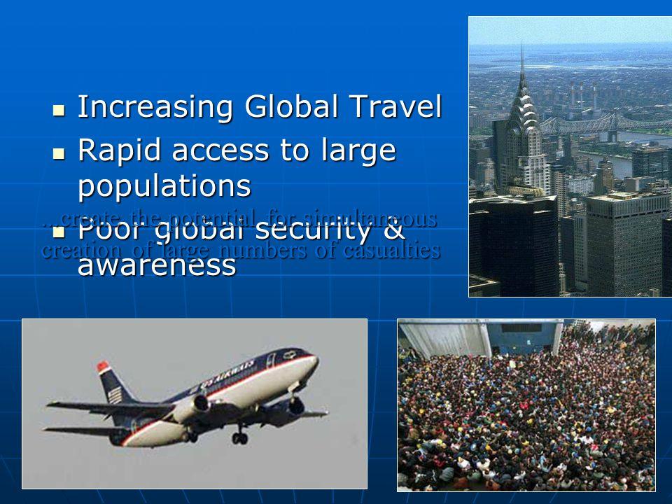 ERIC K. NOJI, M.D. Increasing Global Travel Increasing Global Travel Rapid access to large populations Rapid access to large populations Poor global s