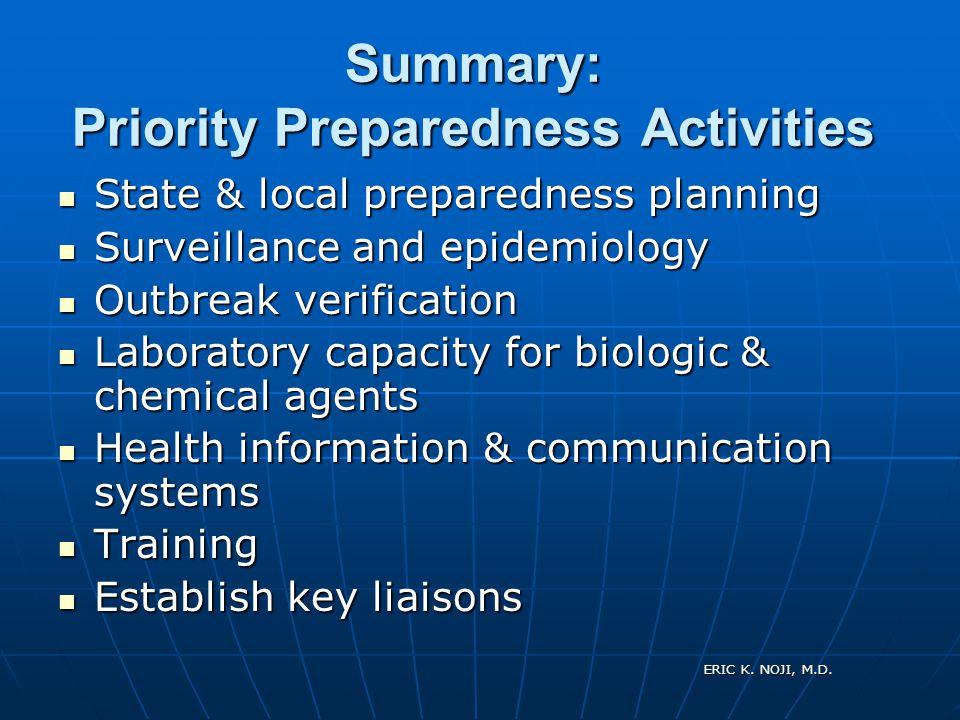 ERIC K. NOJI, M.D. Summary: Priority Preparedness Activities State & local preparedness planning State & local preparedness planning Surveillance and